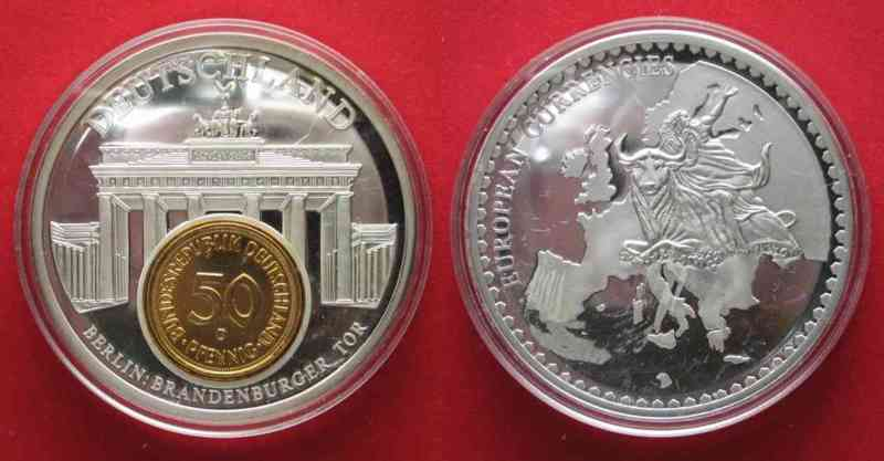 Medaille-European-Currencies-Deutschland-Berlin-BRANDENBURGER-TOR-50mm-72634
