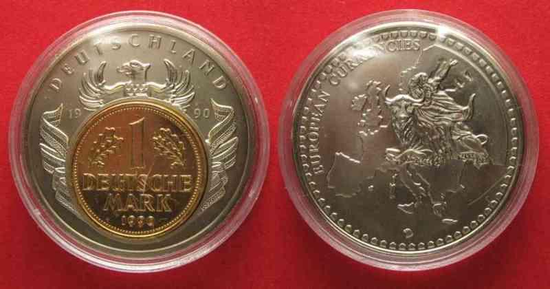 medaille european currencies 1990 deutschland 1 dm 1990. Black Bedroom Furniture Sets. Home Design Ideas